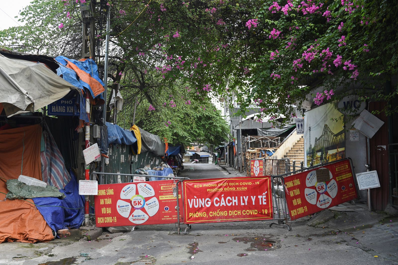 A barrier is pictured in a quarantine area amid COVID19 in Hanoi