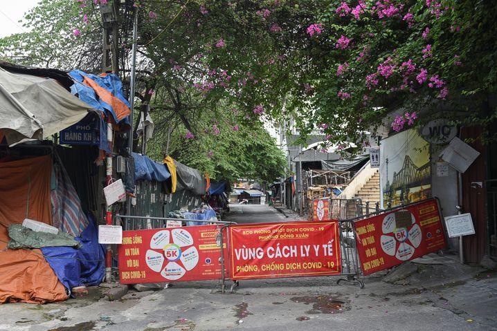Abgesperrte Quarantänezone in Hanoi, Vietnam