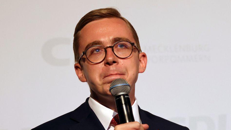 CDU-Politiker Philipp Amthor auf der Wahlparty der CDU in Schwerin