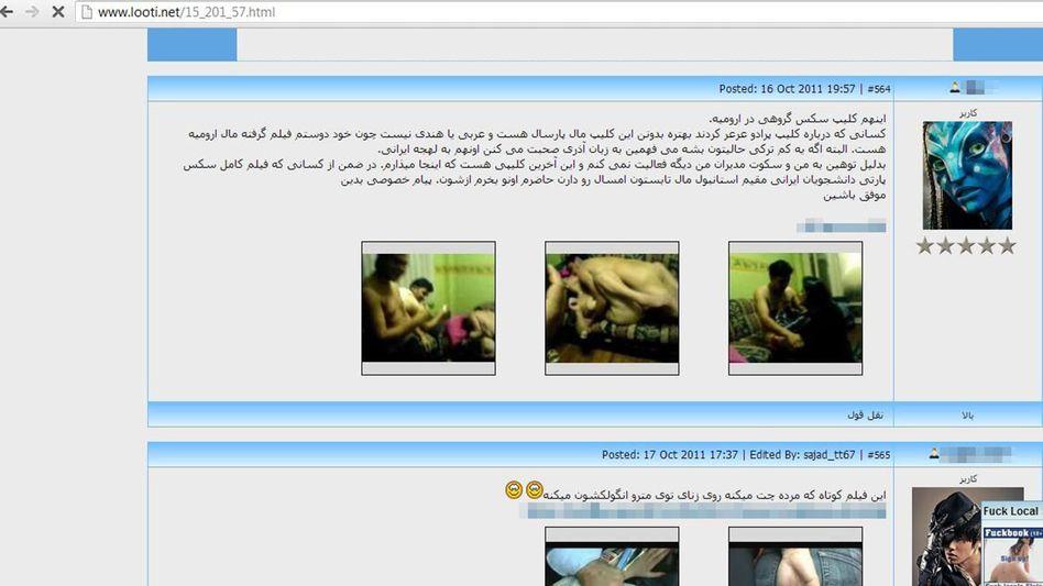 Screenshot einer iranischen Porno-Website: Hunderte Seiten mit Amateur-Clips