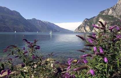 Türkisfarbenes Wasser und Bergmassive: Die Landschaft am Gardasee ist mediterran und alpenländisch