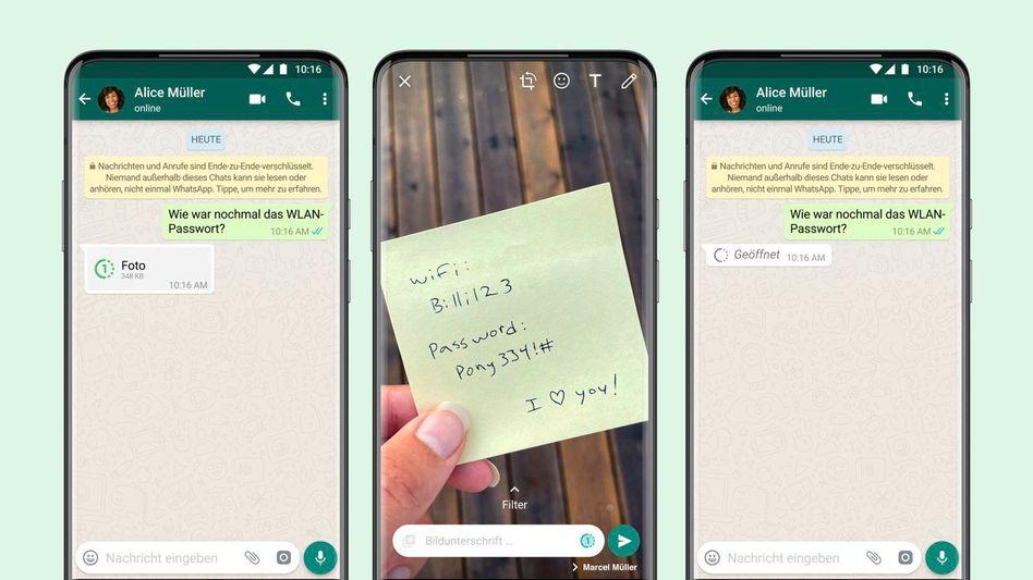 WhatsApp Einmalansicht: Fotos oder Video »von etwas Vertraulichem wie einem WLAN-Passwort«