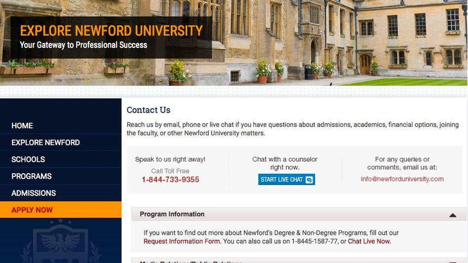 Screenshot der Newford-University-Website: Bezahlte Schauspieler