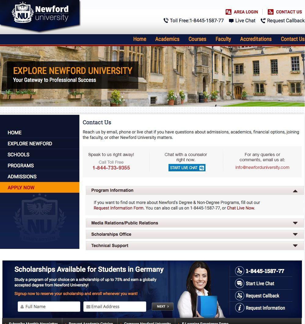 EINMALIGE VERWENDUNG newforduniversity.com/pages/contactus.asp / Screenshot