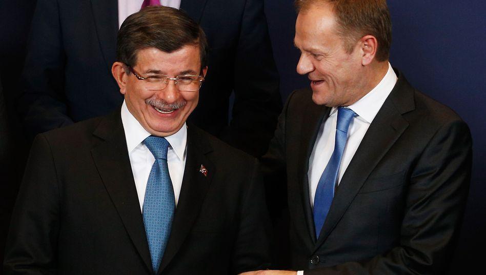 Türkischer Ministerpräsident Davutoglu, EU-Ratspräsident Tusk