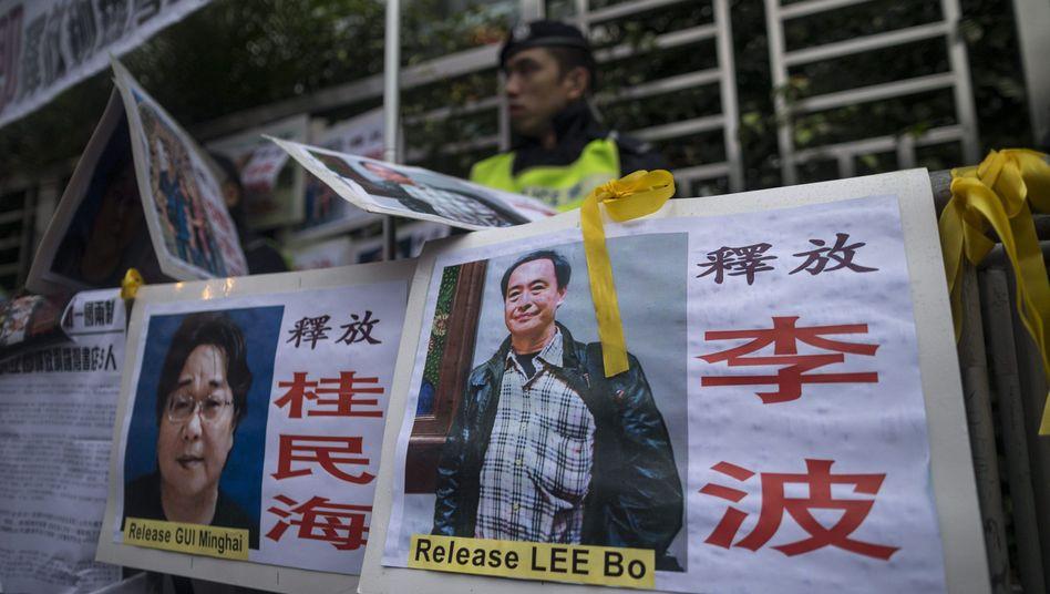 Plakat mit dem damals vermissten Buchhändler Gui Minhai 2016 in Hongkong