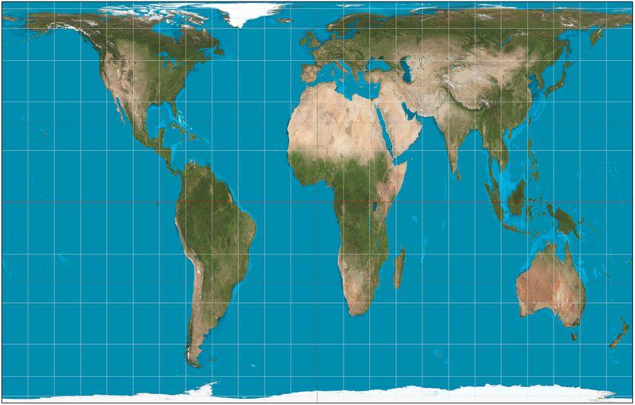 Peters-Projektion: In den Siebzigerjahren zeichnete Arno Peters seine Karte. Er wollte einen gerechteren Blick auf die Welt ermöglichen und zeigte die Kontinente im richtigen Größenverhältnis. Dafür musste er die Länder aber ziemlich in die Länge ziehen.