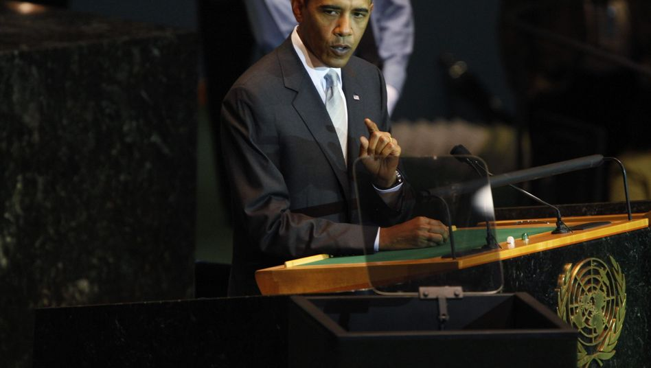 President Barack Obama addressing the United Nations climate change summit on Tuesday.