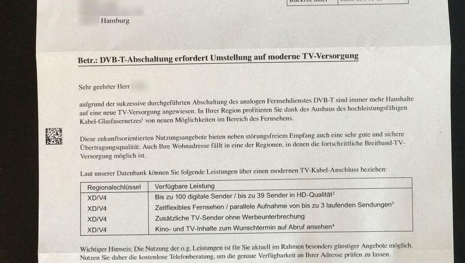 Werbebrief von Vodafone Kabel Deutschland