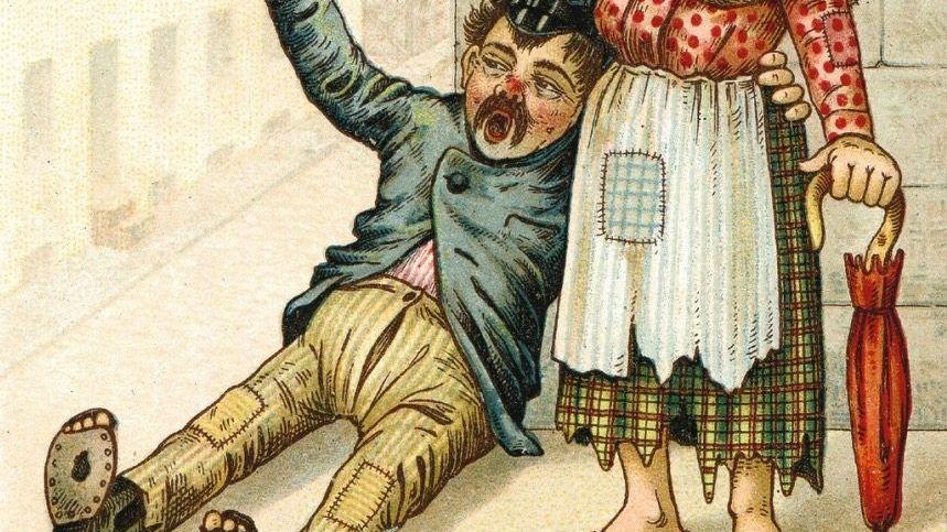 Trunksucht-Karikatur Branntweinkonsum viermal höher als heute
