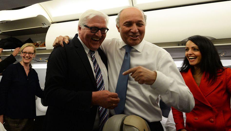 Gemeinsam auf Reisen (April 2014): Steinmeier und Fabius auf dem Weg nach Georgien.