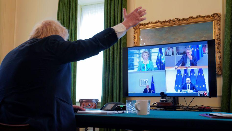 Großbritanniens Premier Johnson bei der Videokonferenz mit der EU-Führung: Tiger im Tank