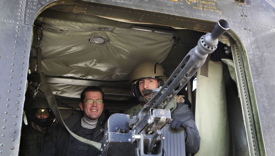 German Defense Minister Karl-Theodor zu Guttenberg in Afghanistan.