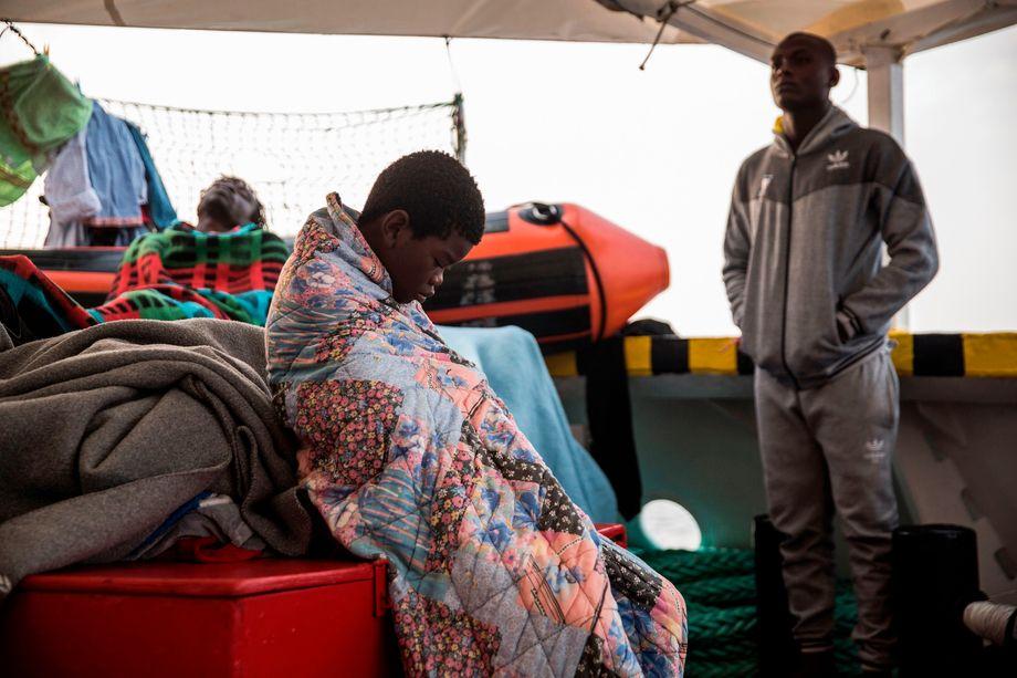Geflüchteter an Bord des privaten Rettungsschiffes »Open Arms«
