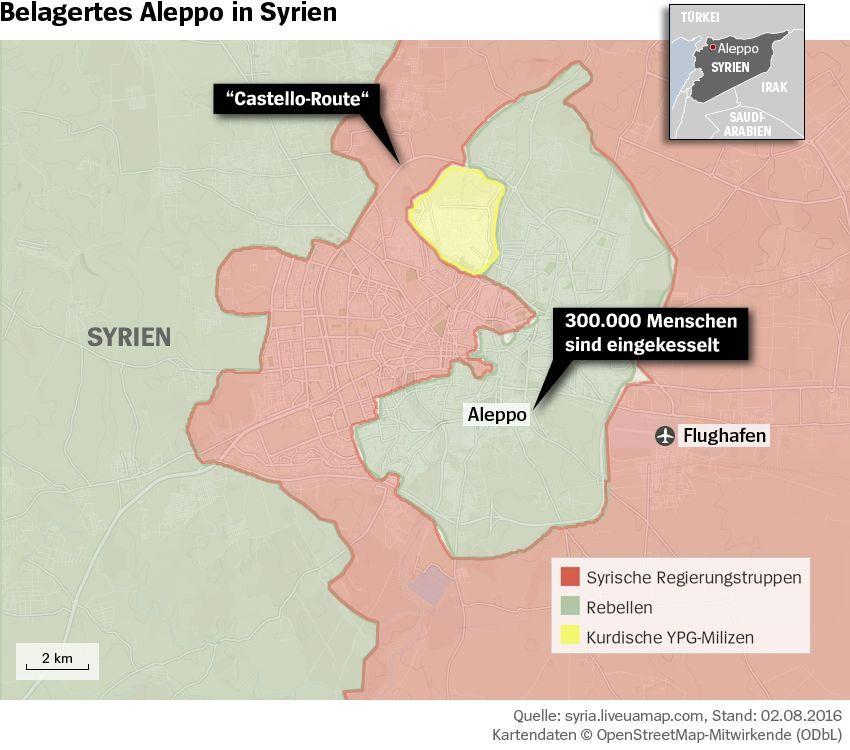 Grafik Karte Syrien Aleppo Belagerung - Stand 02.08.2016 - KORREGIERT
