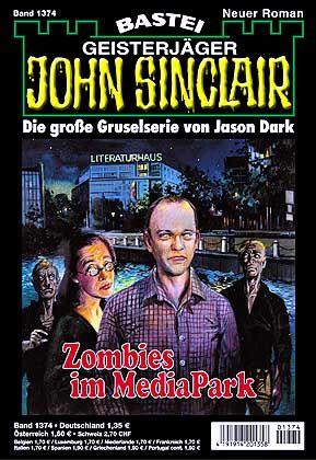 "Cover des Sinclair-Heftes ""Zombies im MediaPark"": Bleiche, diabolisch grinsende Gestalt"