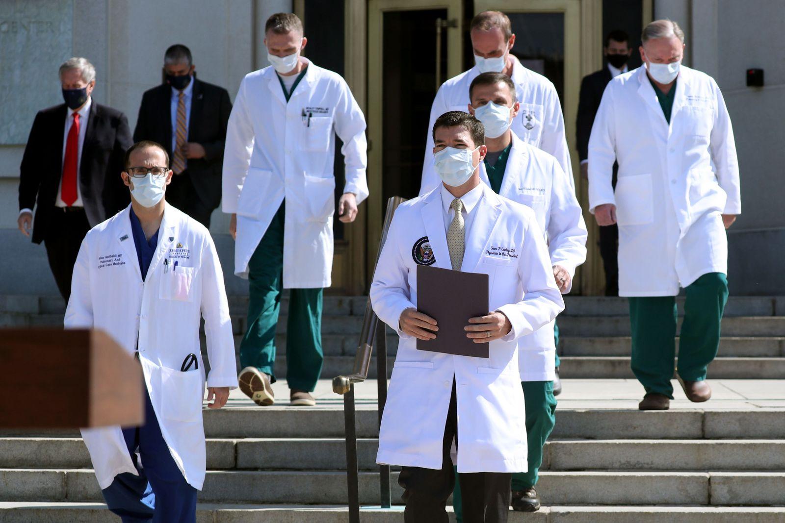 US President Donald J. Trump treated at Walter Reed Hospital after testing positive for coronavirus COVID-19, Bethesda, USA - 04 Oct 2020