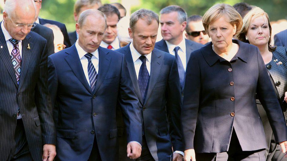 Politiker Putin, Tusk, Merkel in Danzig: Gedenken und Streit am 70. Jahrestag