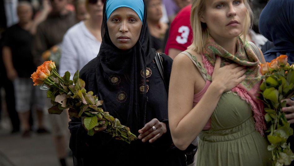 Muslimin beim Trauergottesdienst in Oslo: Vorschnelle Schuldzuweisung