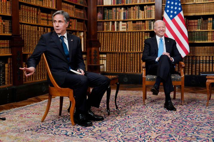 Blinken and U.S. President Joe Biden before their meeting with Russian President Vladimir Putin in Geneva