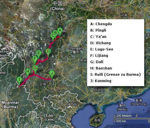 Route von Chengdu nach Kunming: 13 Tage am Steuer eines Mietwagens