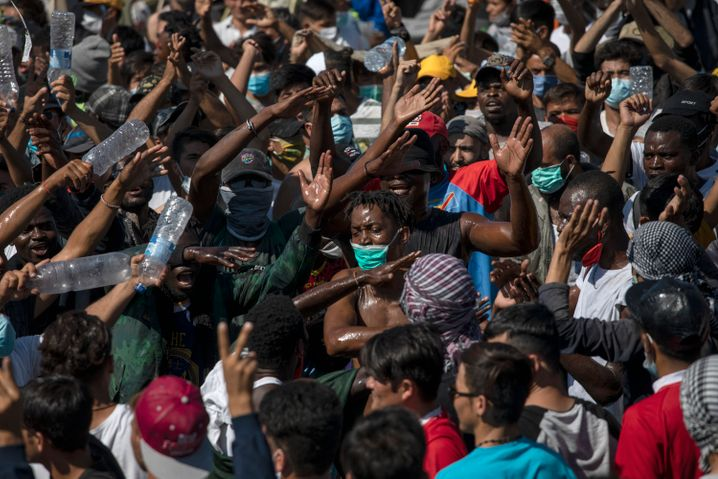 Protestierende Migranten auf Lesbos (am 11. September)