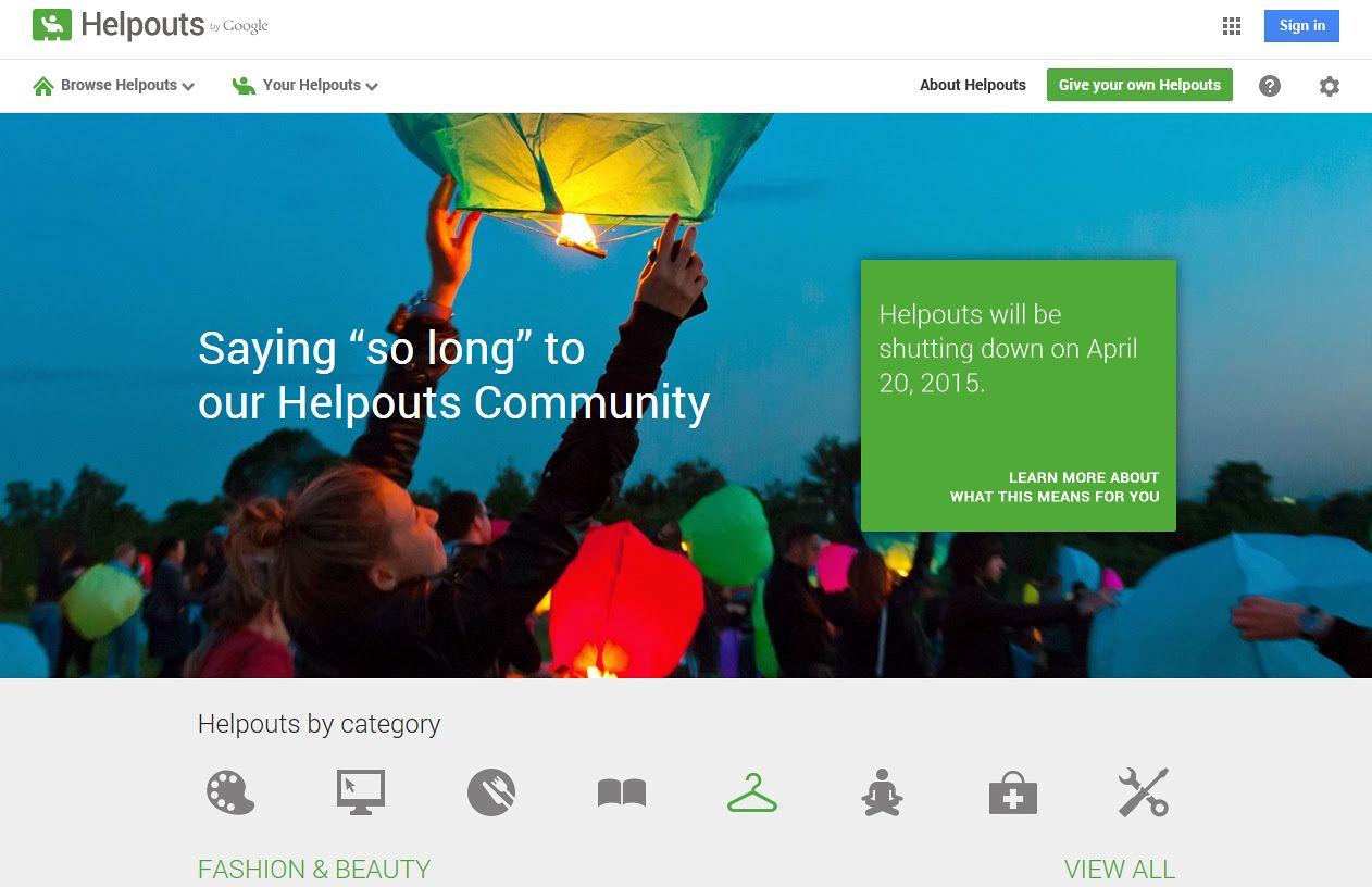 Screenshot Google Helpouts