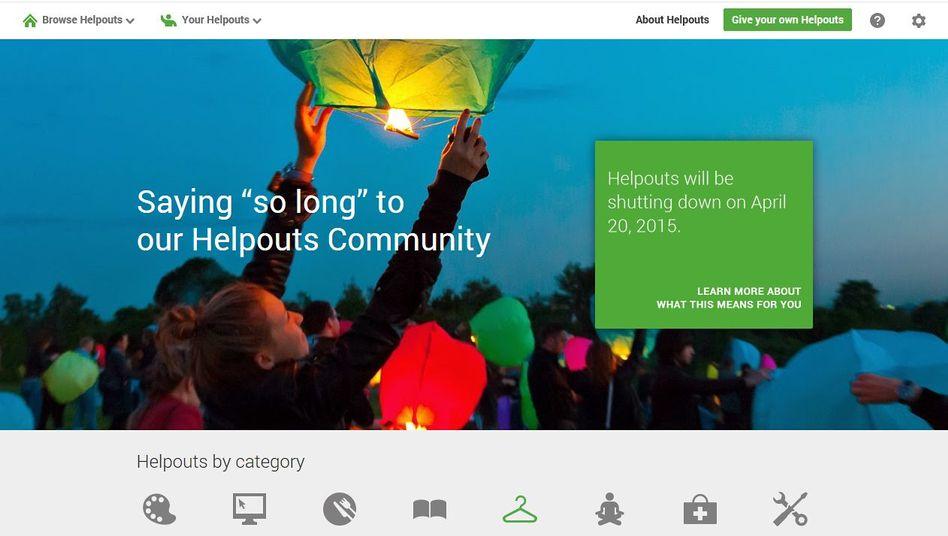 Website von Google Helpouts: Zu wenig Erfolg