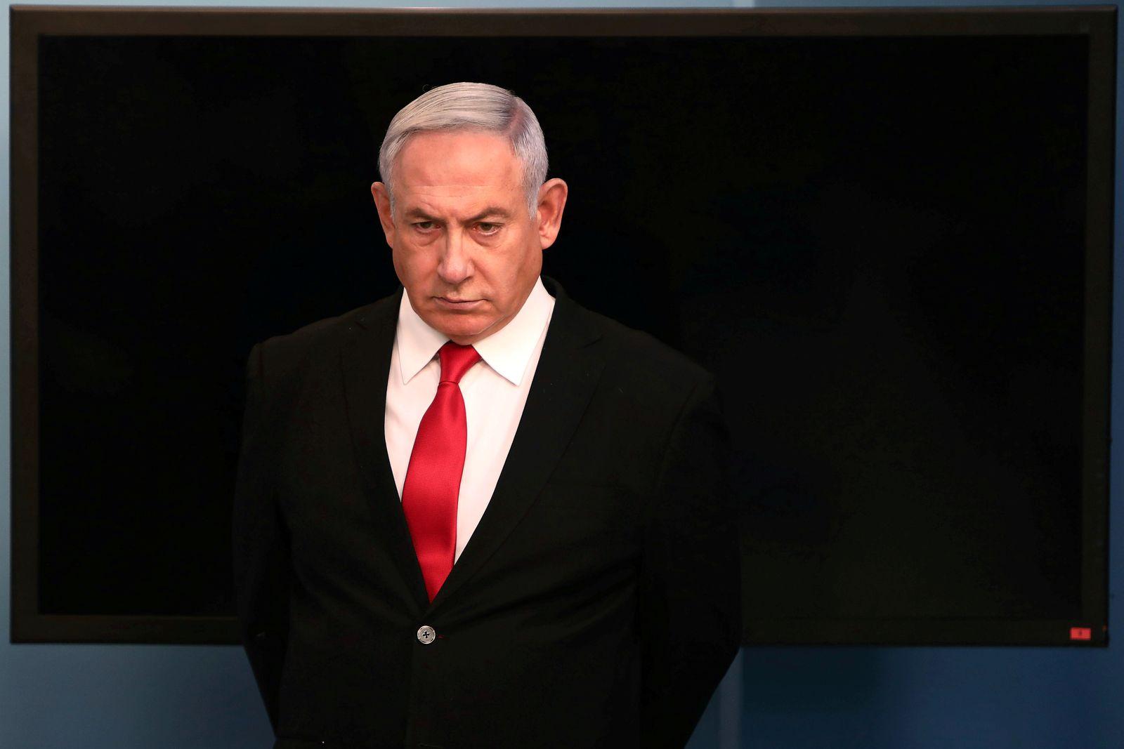 FILE PHOTO: Israeli Prime Minister Benjamin Netanyahu delivers a speech at his Jerusalem office