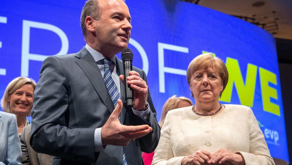 EVP-Spitzenkandidat Manfred Weber, Kanzlerin Angela Merkel