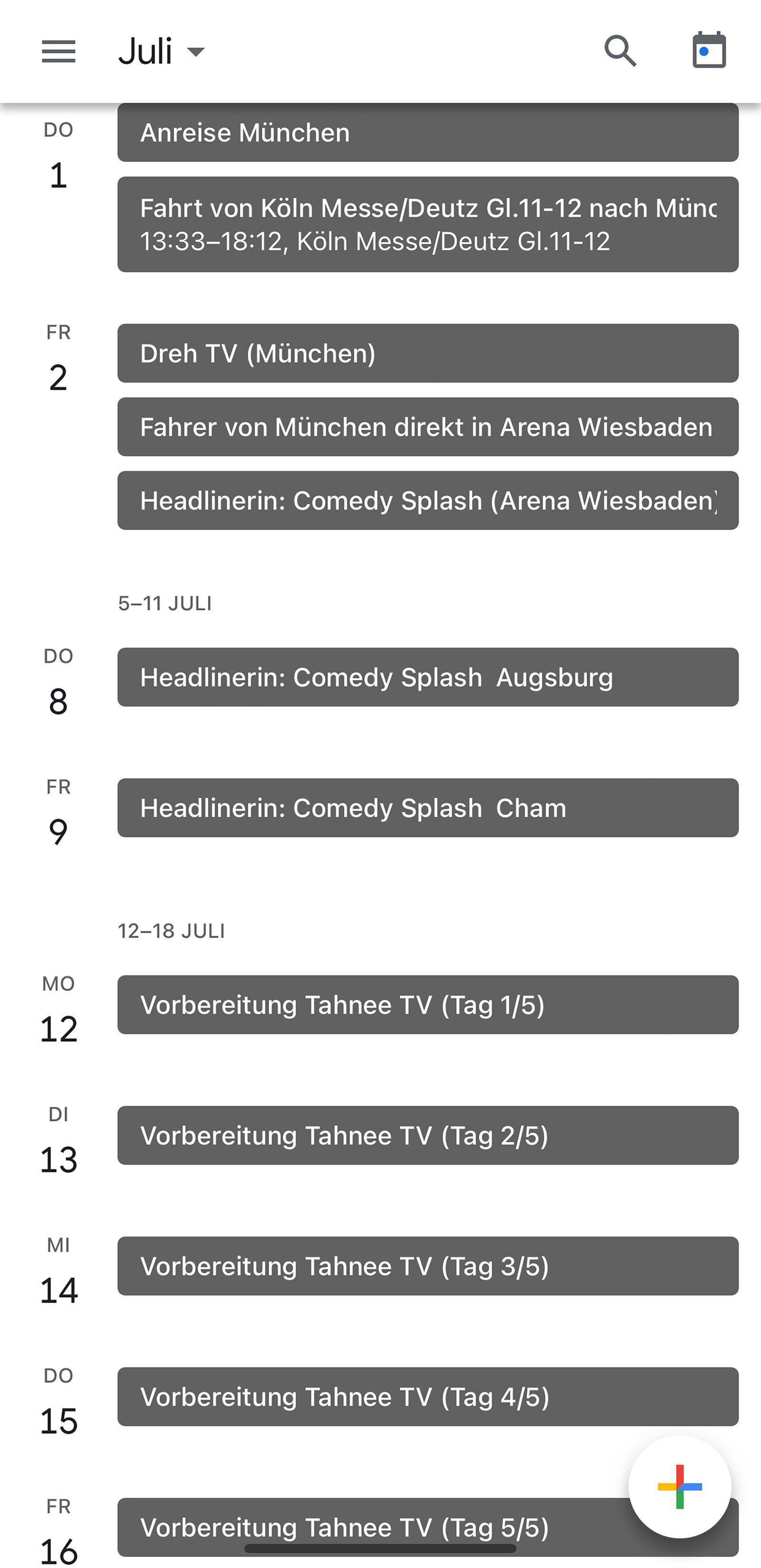 Tahnee / Kalender