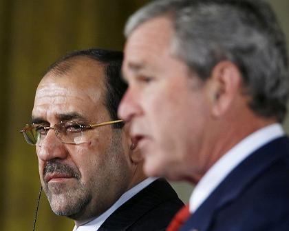 Iraks Premierminister Maliki und US-Präsident Bush: Entschlossen, den Terrorismus zu besiegen
