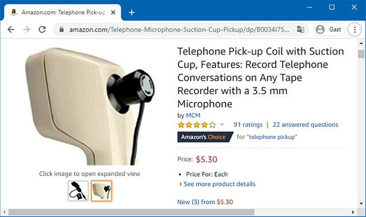Wird noch immer angeboten: Die gute alte Mitschneidespule aus analogen Tagen. Per Saugnapf auf den Telefonhörer gesetzt und an ein Audio-Aufnahmegerät angeschlossen, ermöglicht sie es, die Äußerungen beider Gesprächspartner aufzuzeichnen.