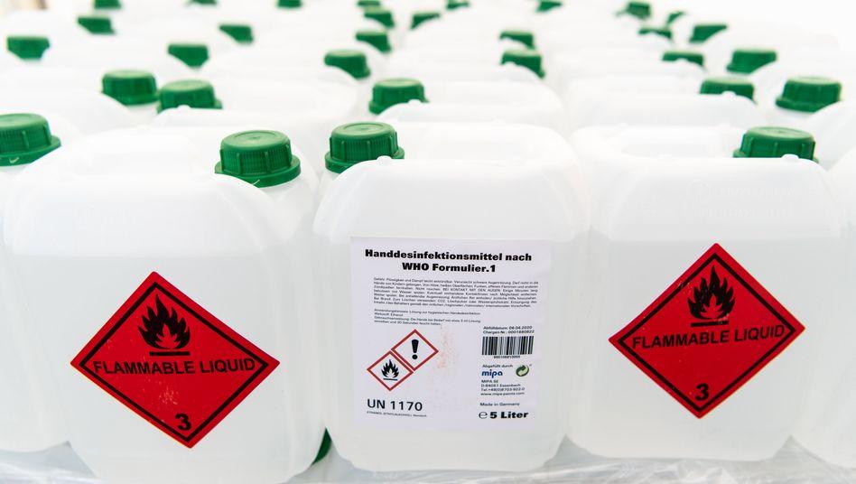 Desinfektionsmittel in Bayern im April: 161Prozent mehr produziert als im April 2019
