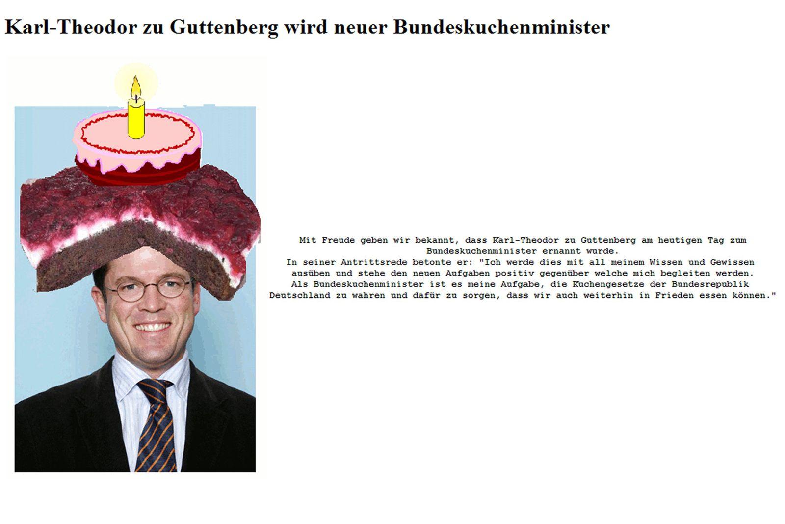 NICHT VERWENDEN zu Guttenberg / Internetseite / Kuchenminister