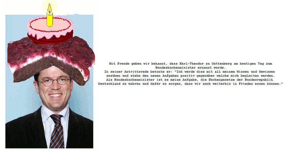 """Screenshot der gehackten Guttenberg-Seite (am Sonntagmittag): """"In Frieden essen"""""""
