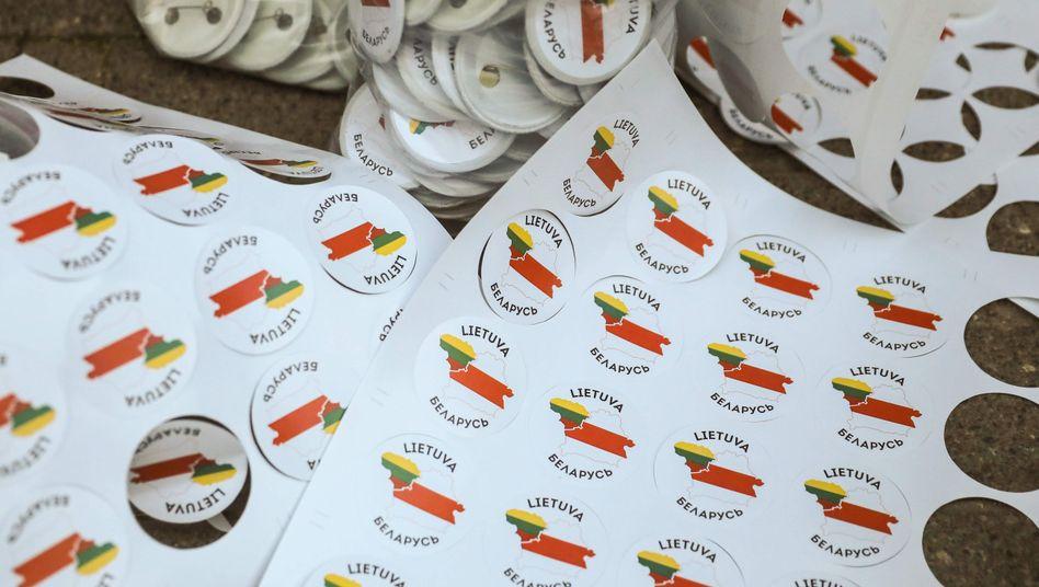 Protest gegen Lukaschenko: Sticker zeigen Litauen und Belarus