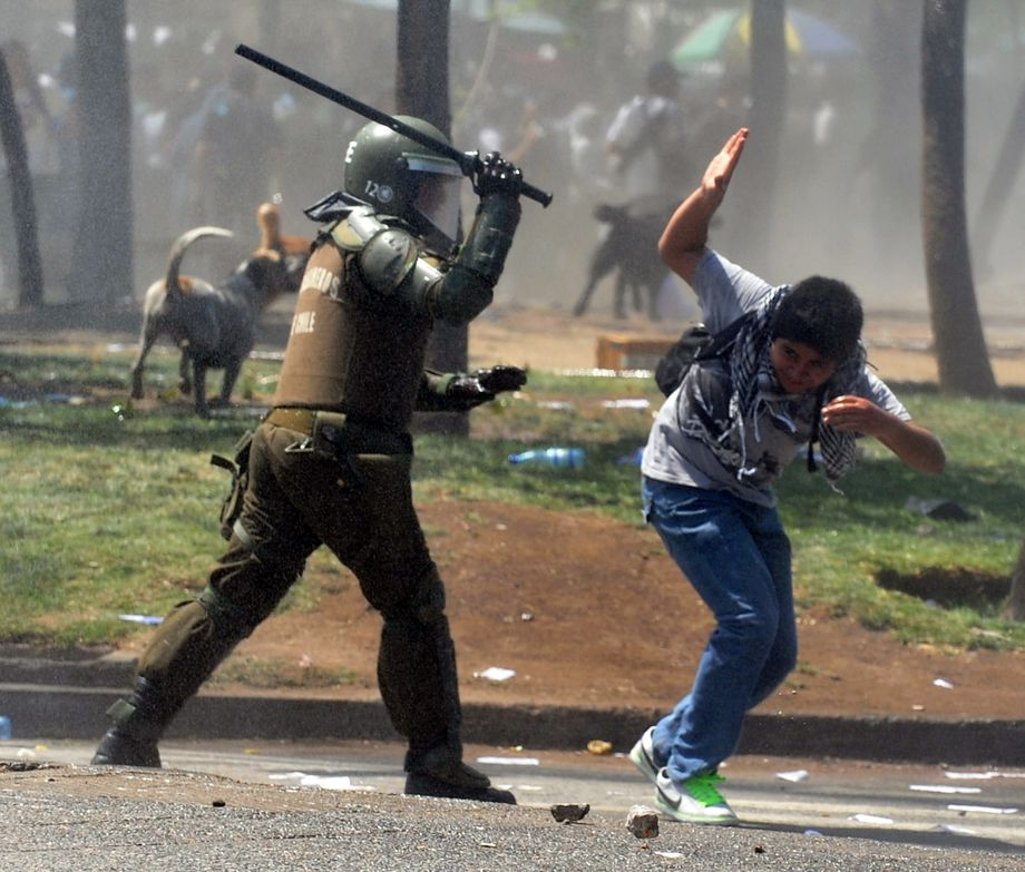 Die Sicherheitskräfte gingen häufig sehr brutal gegen die chilenischen Demonstranten vor