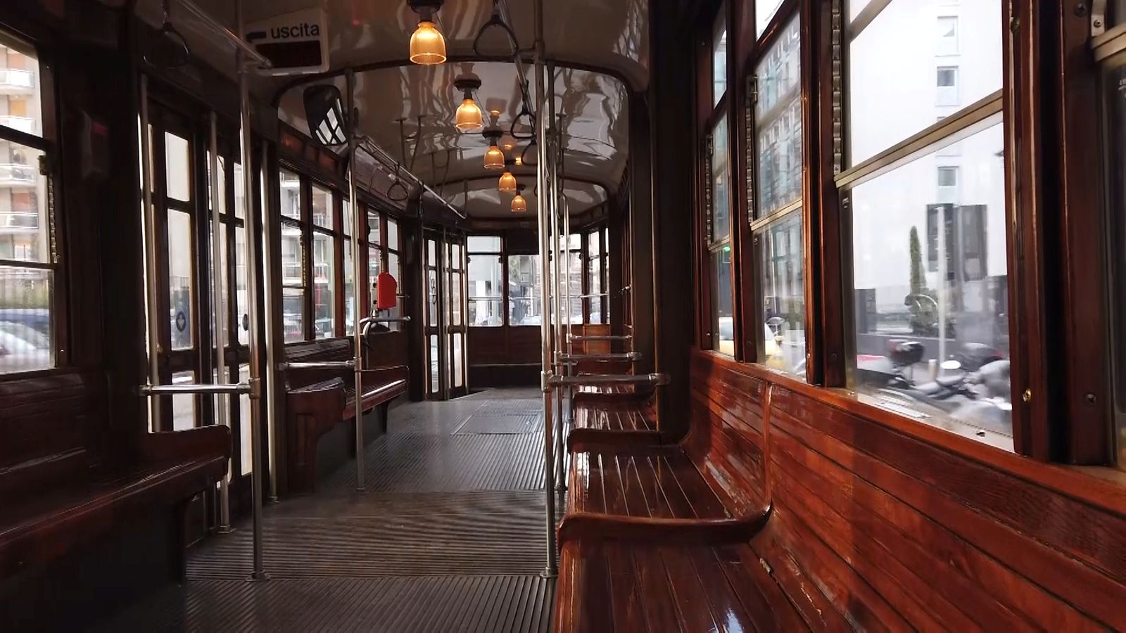 An empty tram is seen during rush hour in Milan