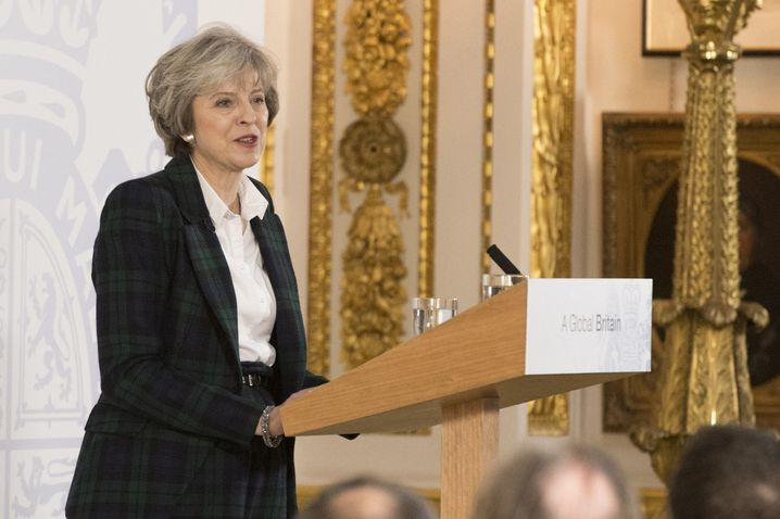 British Prime Minister Theresa May speaking at Lancaster House in London in 2017.