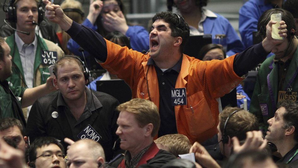 Traders work the pit at the Chicago Mercantile Exchange.