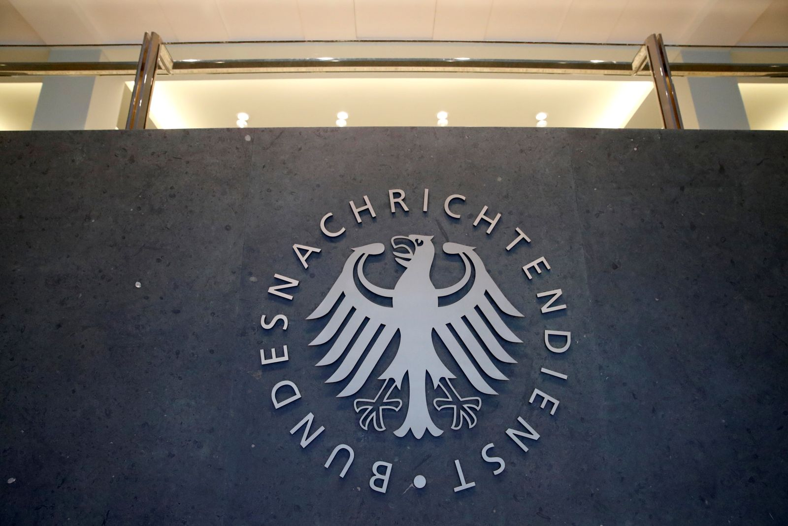 A sign of the headquarters of the Bundesnachrichtendienst (BND), Germany's Federal Intelligence Service, is seen in Berlin