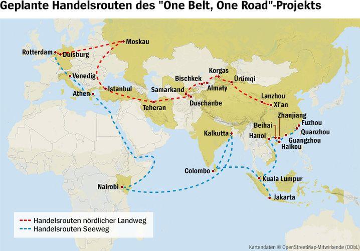 """Routen der """"Neuen Seidenstraße"""""""