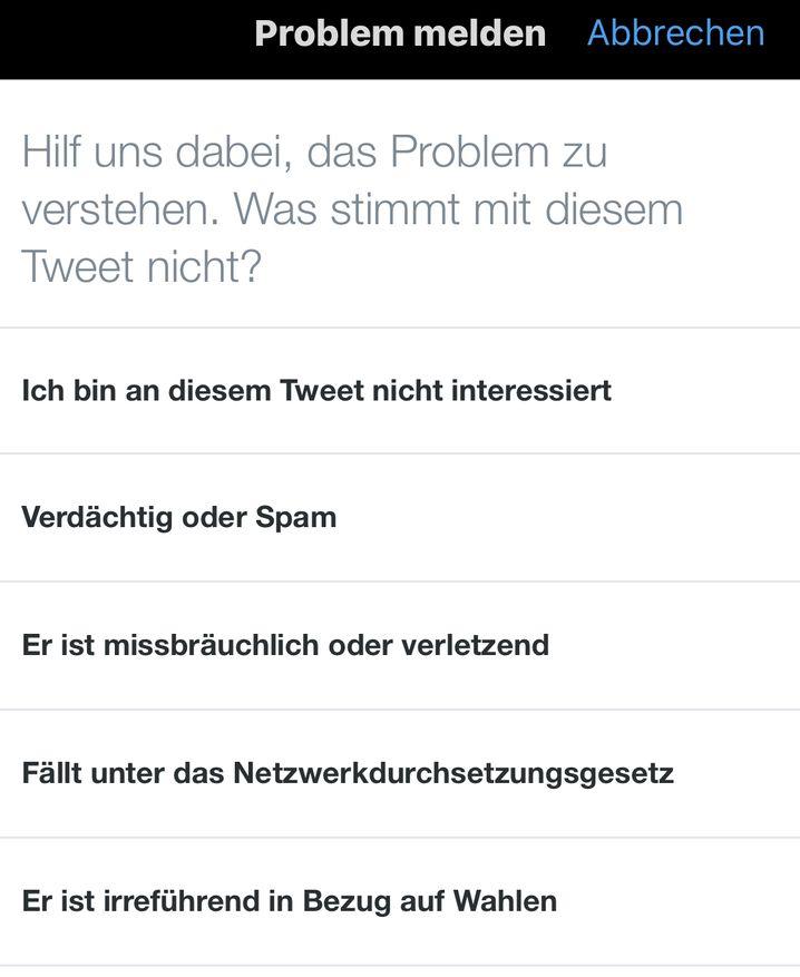 Meldefunktion von Twitter