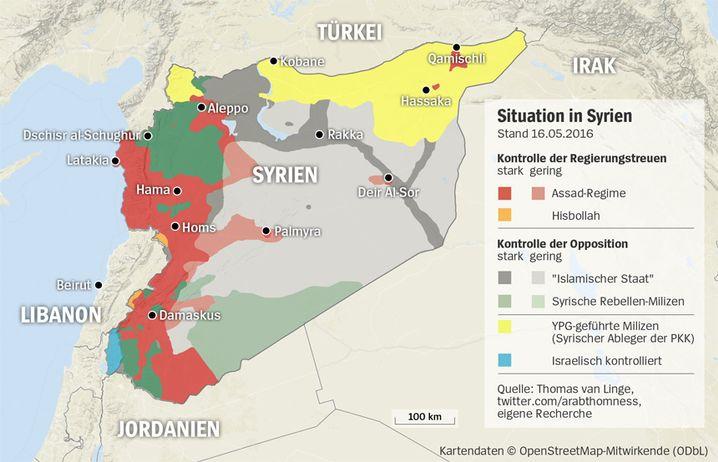 Die YPG-geführte Koalition (Gelb) rückt Richtung Rakka vor