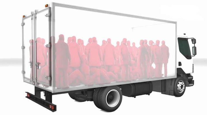 Die Grafik zeigt, wie dicht gedrängt die Flüchtlinge im Lkw standen
