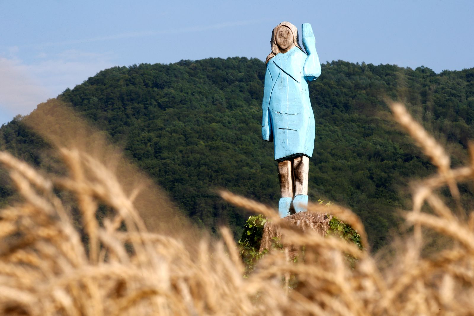 FILE PHOTO: Life-size wooden sculpture of U.S. first lady Melania Trump is officially unveiled in Rozno, near her hometown of Sevnica