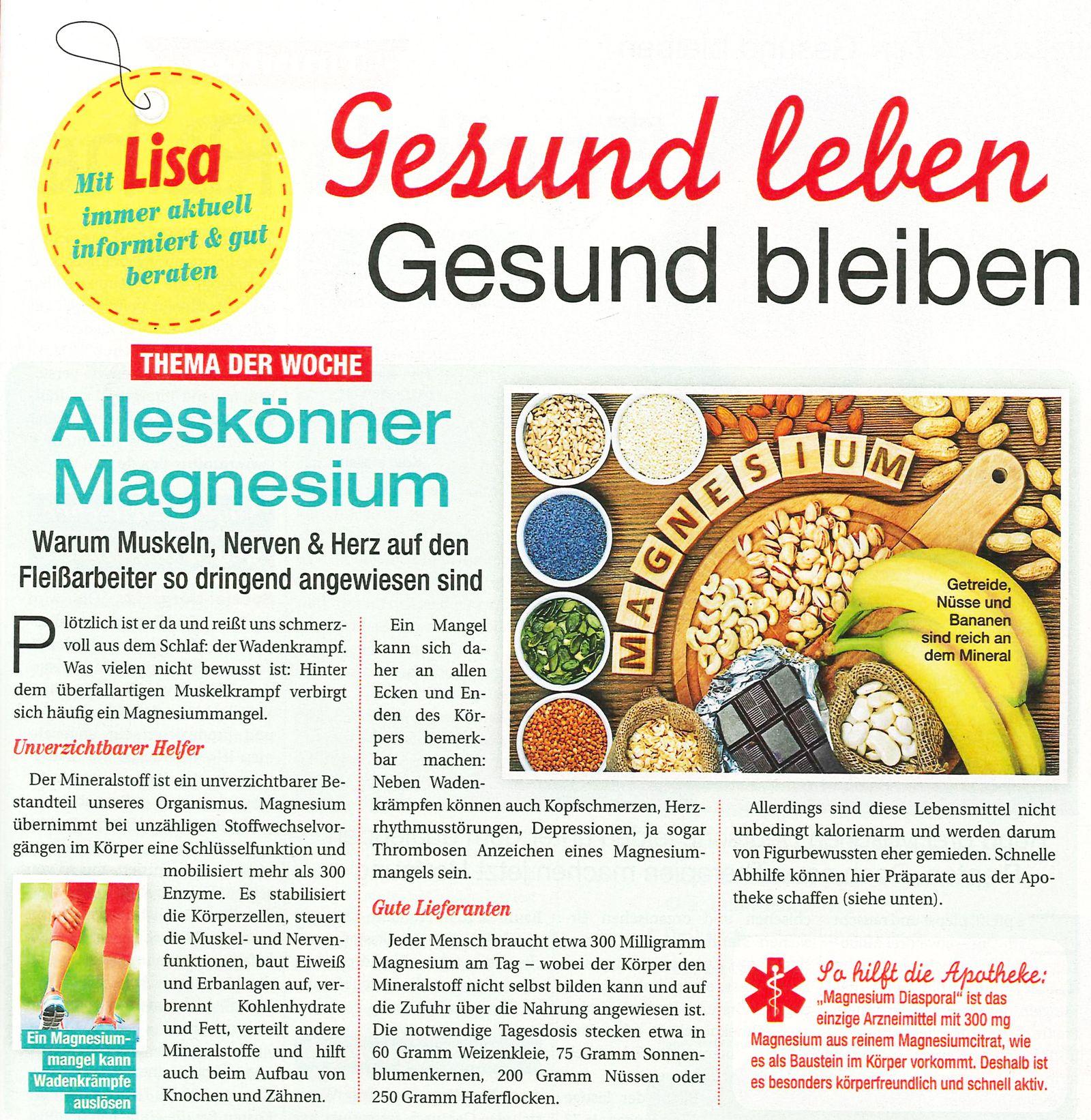 EINMALIGE VERWENDUNG Produkt/ Hinweis/ Magnesium Diasporal/ Lisa