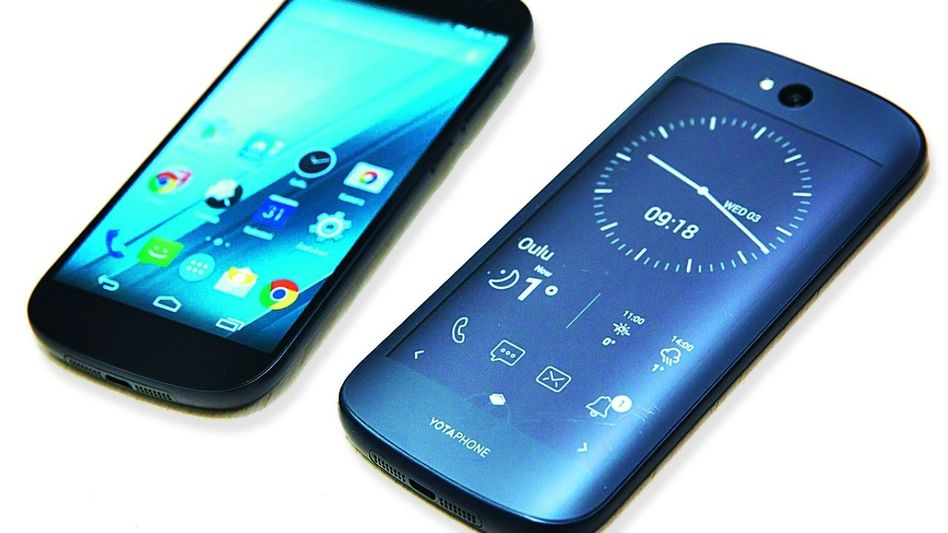 Vorder- und Rückseite des Yotaphone 2 Exportschlager wie die Kalaschnikow?