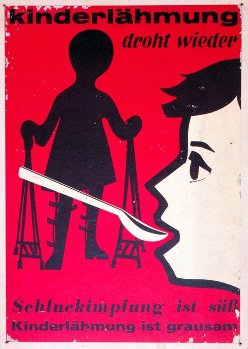 Plakat von 1965: Erfolgreiche Kampagne gegen die Kinderlähmung